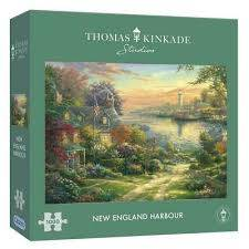 Cover of New England Harbour 1000 Piece Puzzle Thomas Kinkade