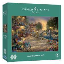 Cover of Amsterdam Cafe 1000 piece puzzle Thomas Kinkade - Gibson Games - 5012269063080