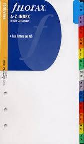 Cover of A-Z Multi-Coloured Index Tab Inserts Personal - Filofax - 5015142340070