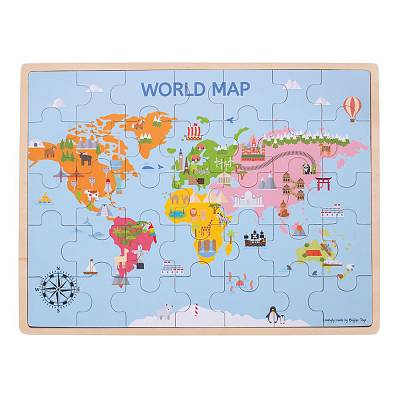 Cover of World Map 35 piece Wooden Puzzle - Bigjigs - 691621190982